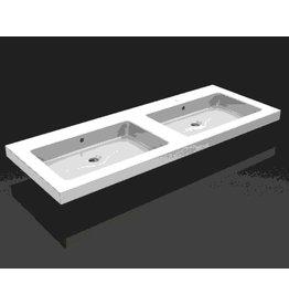 Linea Uno keramische dub.meubelwastafel 120x46 zond. kr.gaten