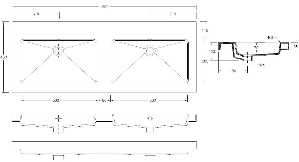 Wiesbaden keramische dub.meubelwastafel 120x46 zond. kr.gaten