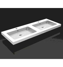 Linea Uno keramische dub.meubelwastafel 120x46 2 kr.gaten