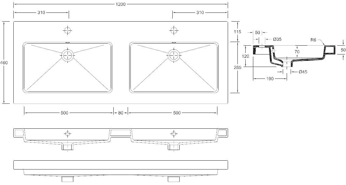 Wiesbaden keramische dub.meubelwastafel 120x46 2 kr.gaten