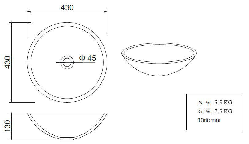 Wiesbaden Solid Surface opzetwastafel rond 430x430x130