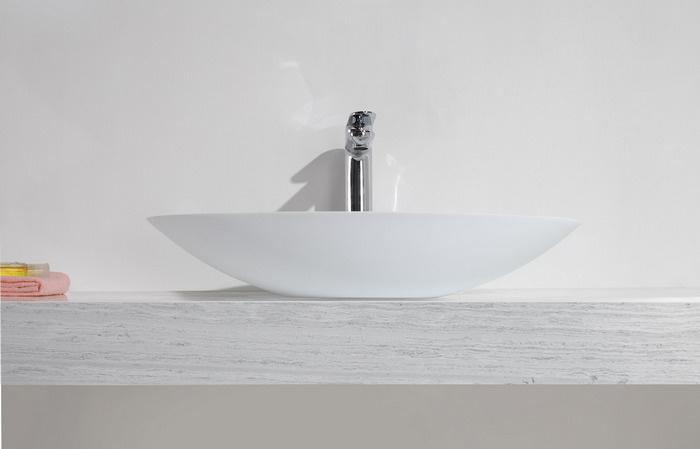 Wiesbaden Solid Surface opzetwastafel ovaal 59 x 35 x 11 cm