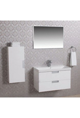 Wiesbaden badmeubel 80 +keramische wastafel + spiegel + zijkast wit