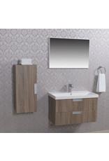 Wiesbaden badmeubel 80 +keramische wastafel + spiegel + zijkast eiken