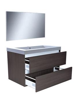 Wiesbaden Vision meubelset (incl. spiegel) 80 cm houtnerf grijs