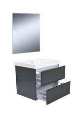 Wiesbaden Vision meubelset (incl. spiegel) 60 cm hoogglans grijs