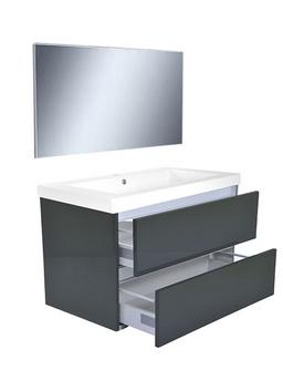 Wiesbaden Vision meubelset (incl. spiegel) 80 cm hoogglans grijs