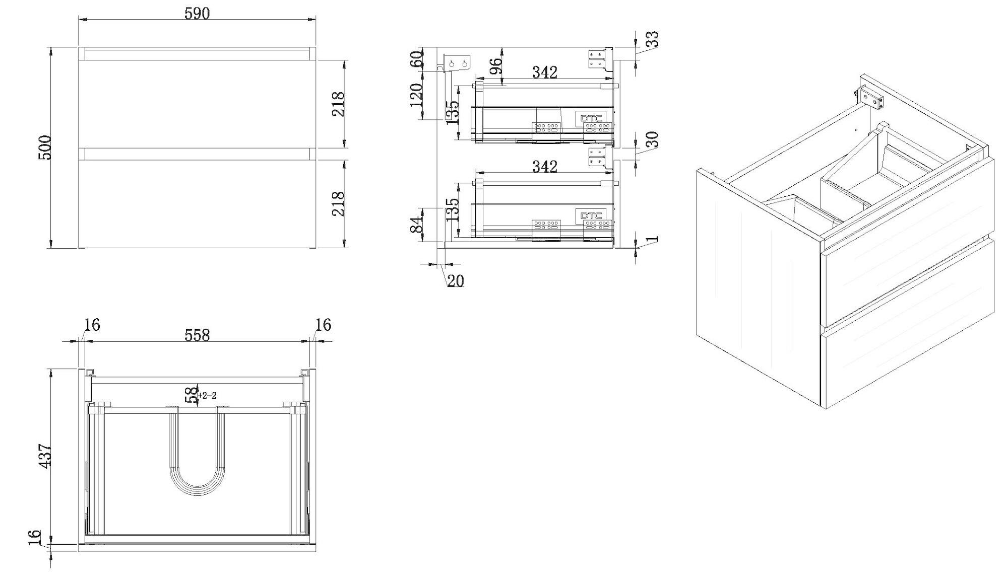 Wiesbaden Vision onderkast+2 laden 60x46 houtnerf grijs