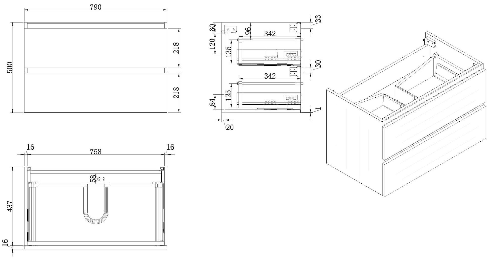 Wiesbaden Vision onderkast+2 laden 80x46 houtnerf grijs