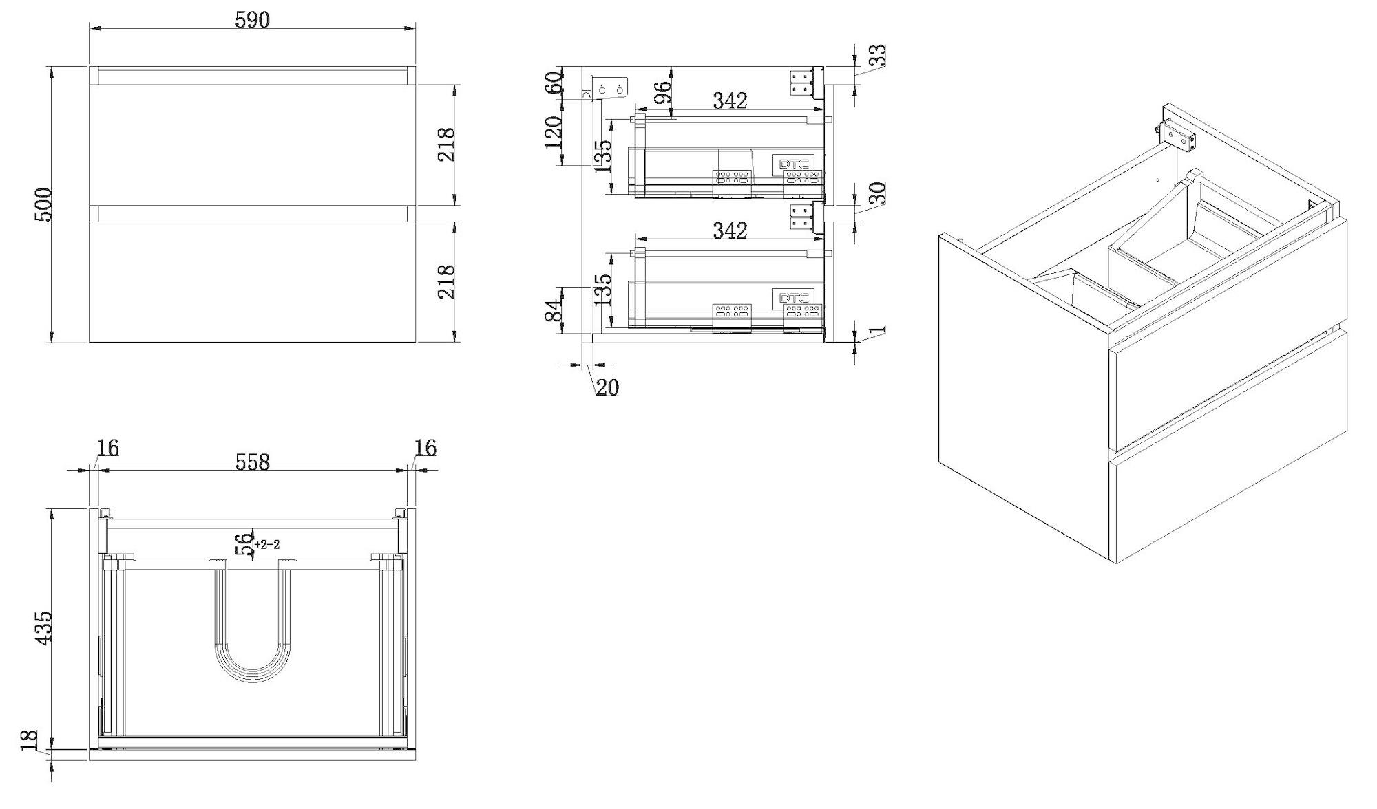 Wiesbaden Vision onderkast+2 laden 60x46 hoogglans grijs