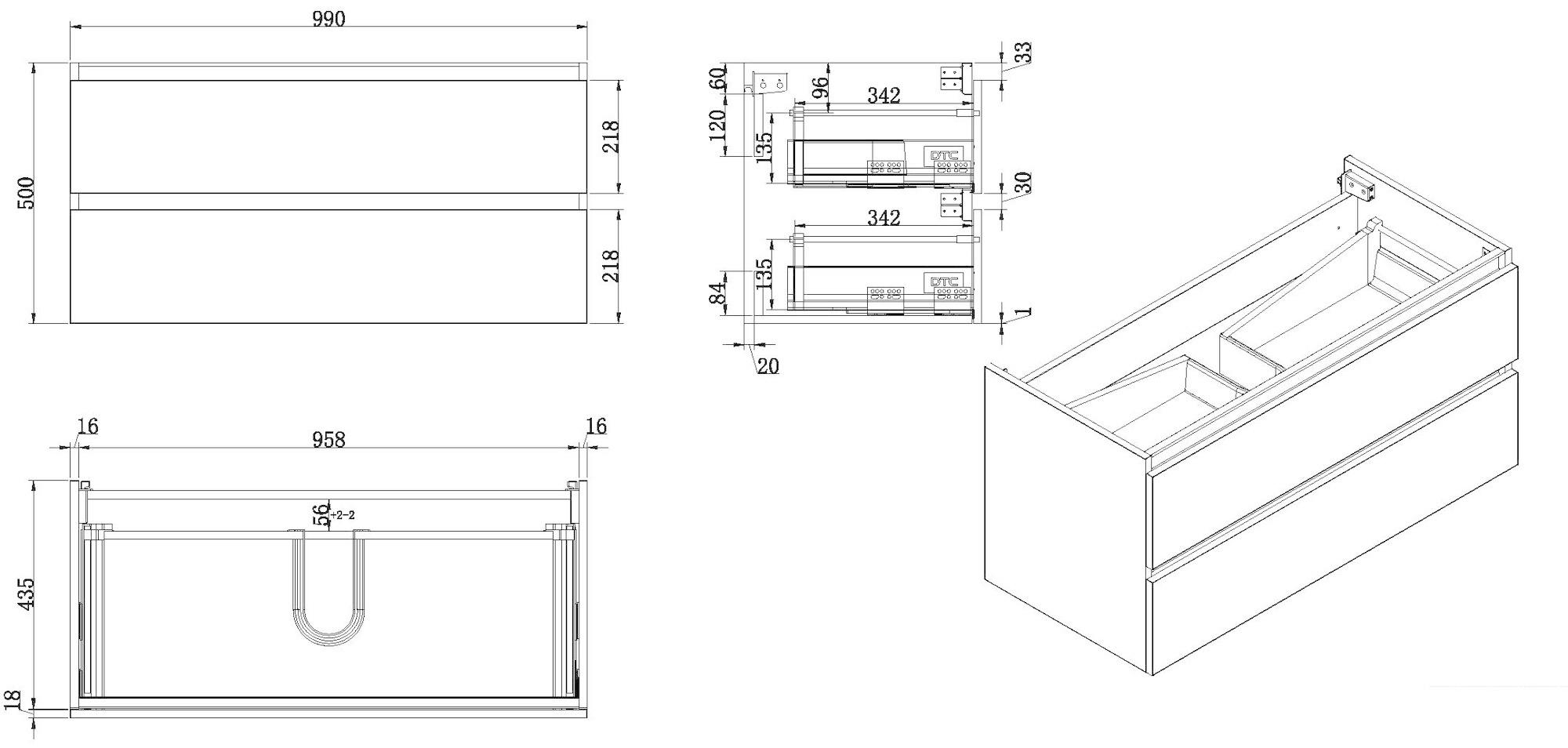 Wiesbaden Vision onderkast+2 laden 100x46 hoogglans grijs
