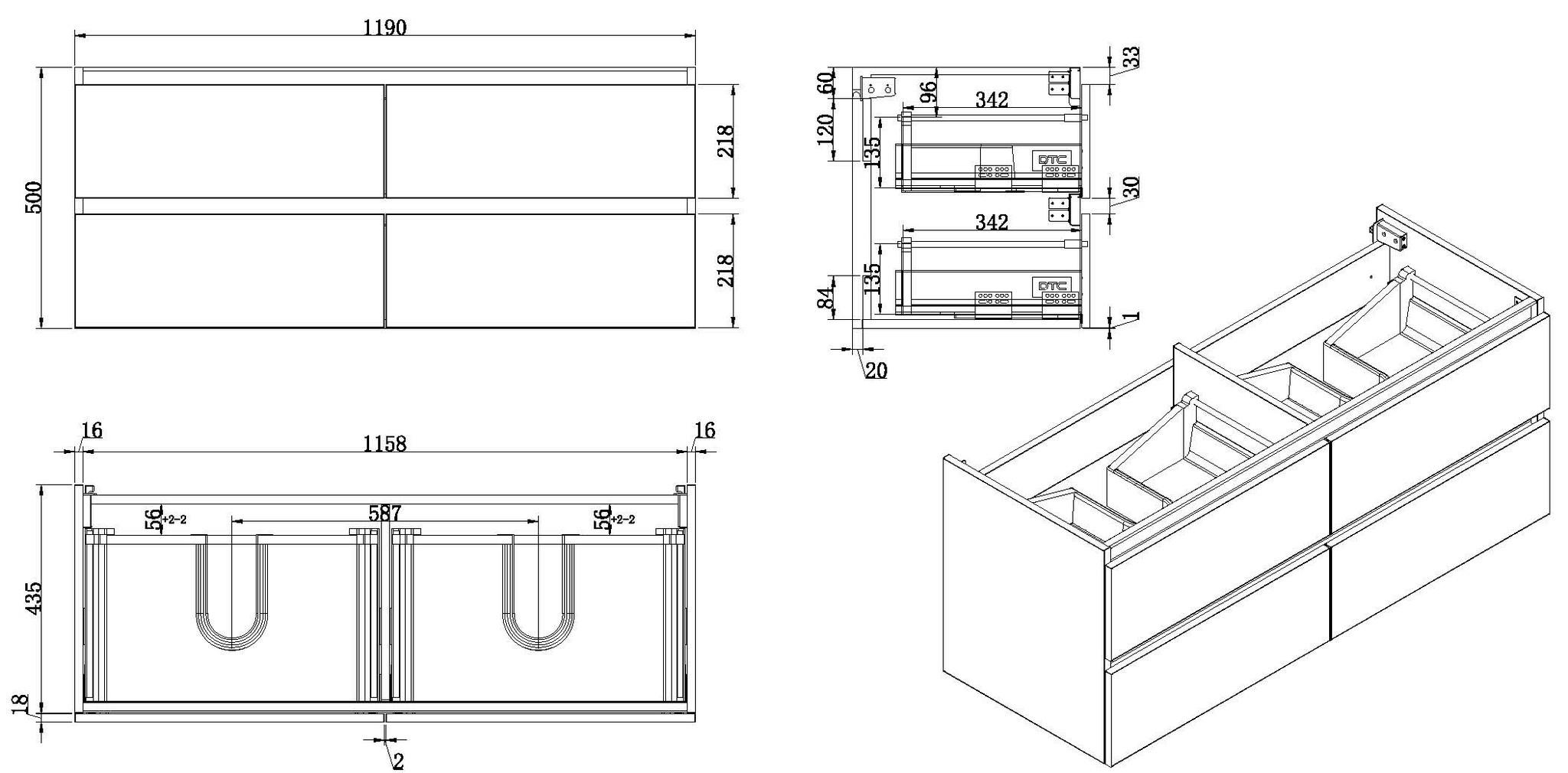 Wiesbaden Vision onderkast dubbel+4 laden 120x46 hoogglans grijs