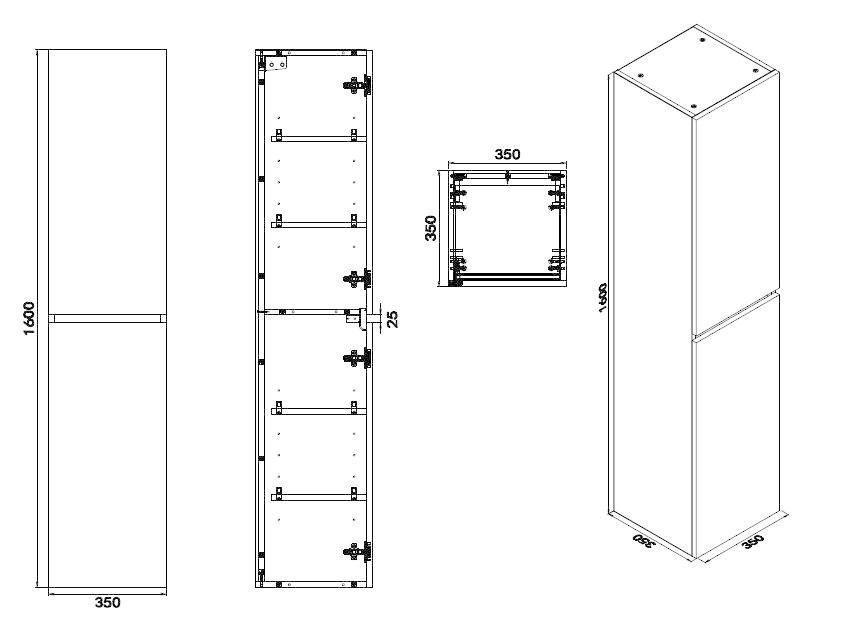 Wiesbaden Vision kolomkast 2 deuren 160x35x35 hoogglans grijs