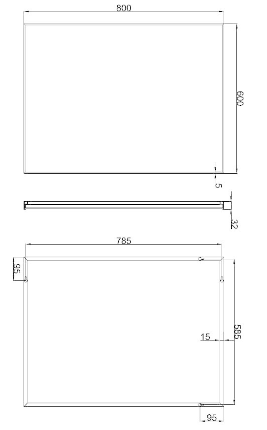 Wiesbaden Spiegel aluminium lijst 100 x 60 x 2,1 cm