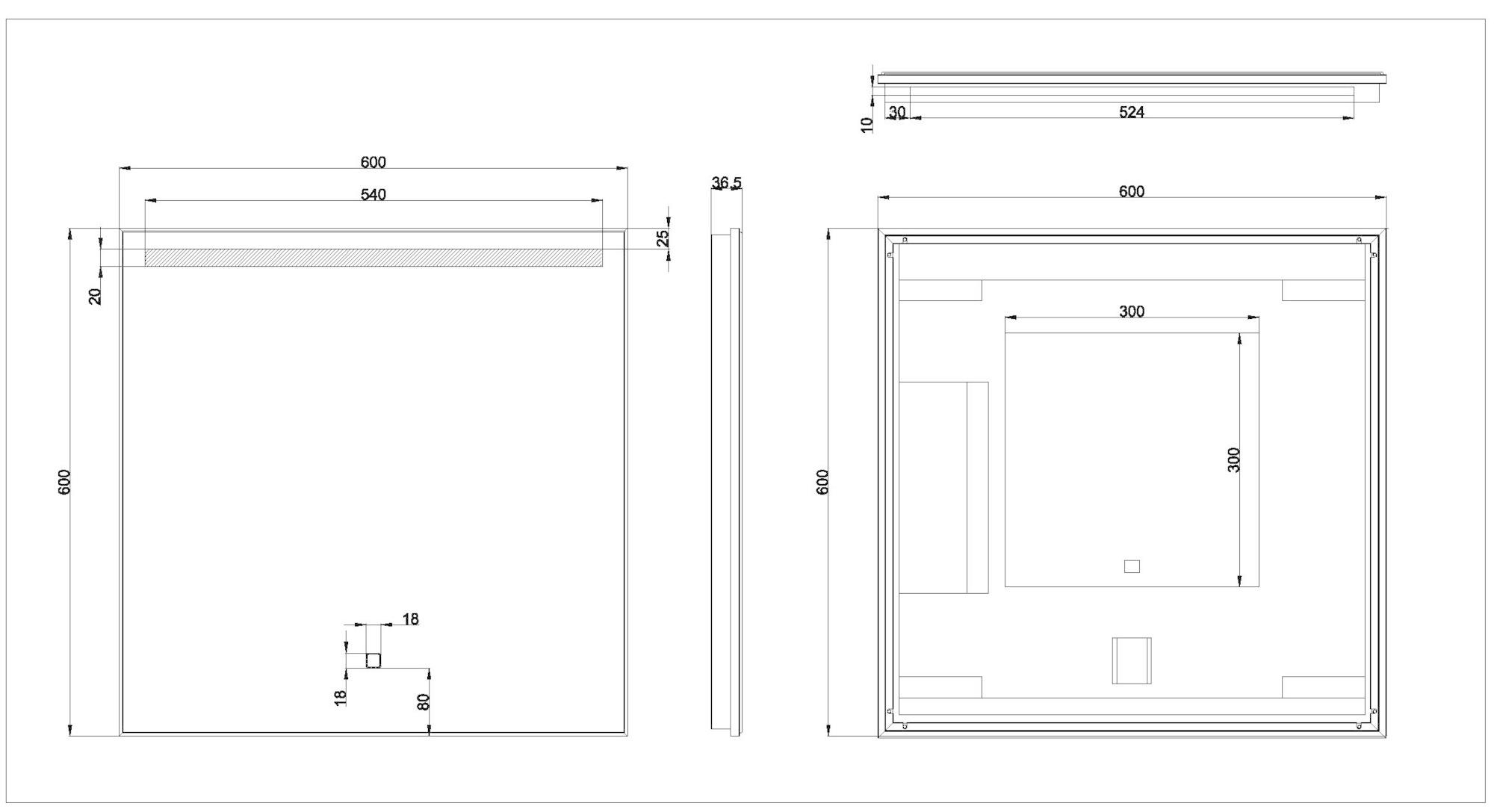 Wiesbaden Ambi One dimbare Led condensvrije spiegel 60 x 60 cm