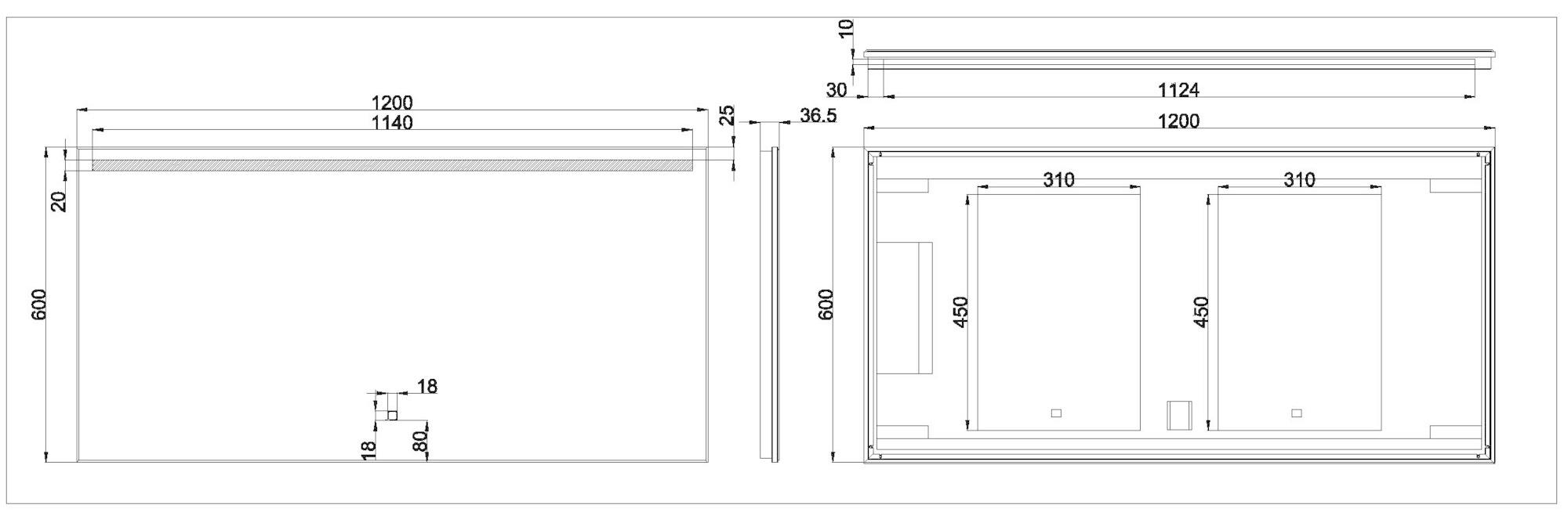 Wiesbaden Ambi One dimbare Led condensvrije spiegel 120 x 60 cm