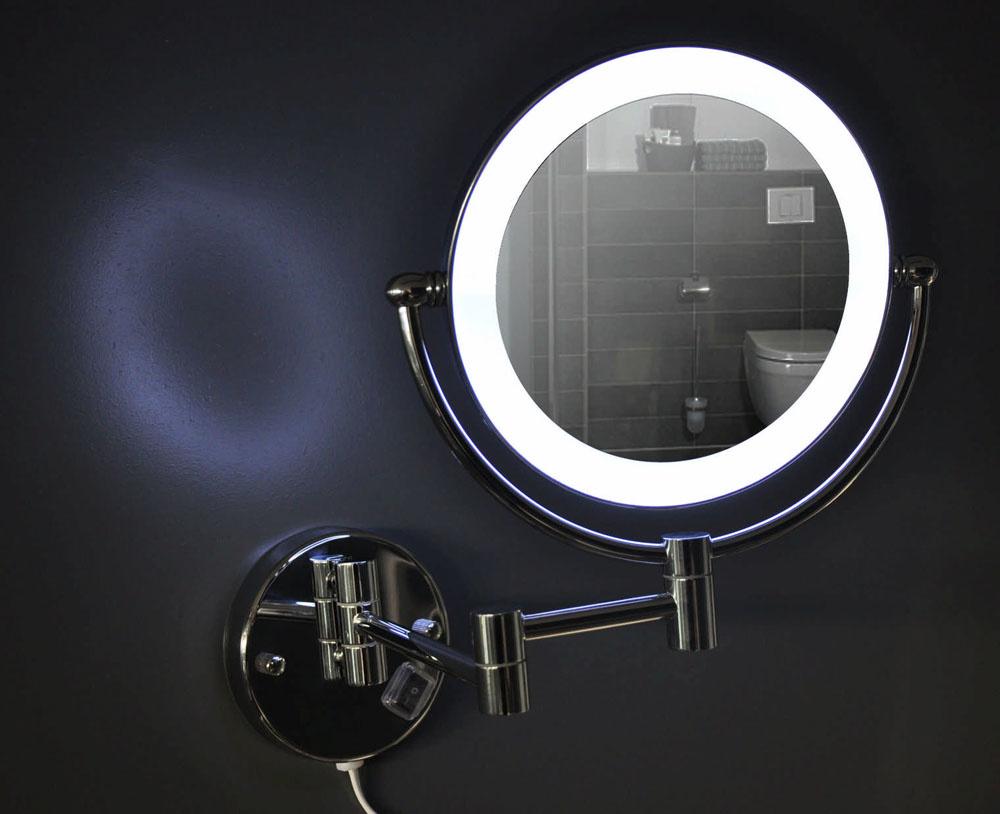Wiesbaden wand scheerspiegel met led verlichting chroom