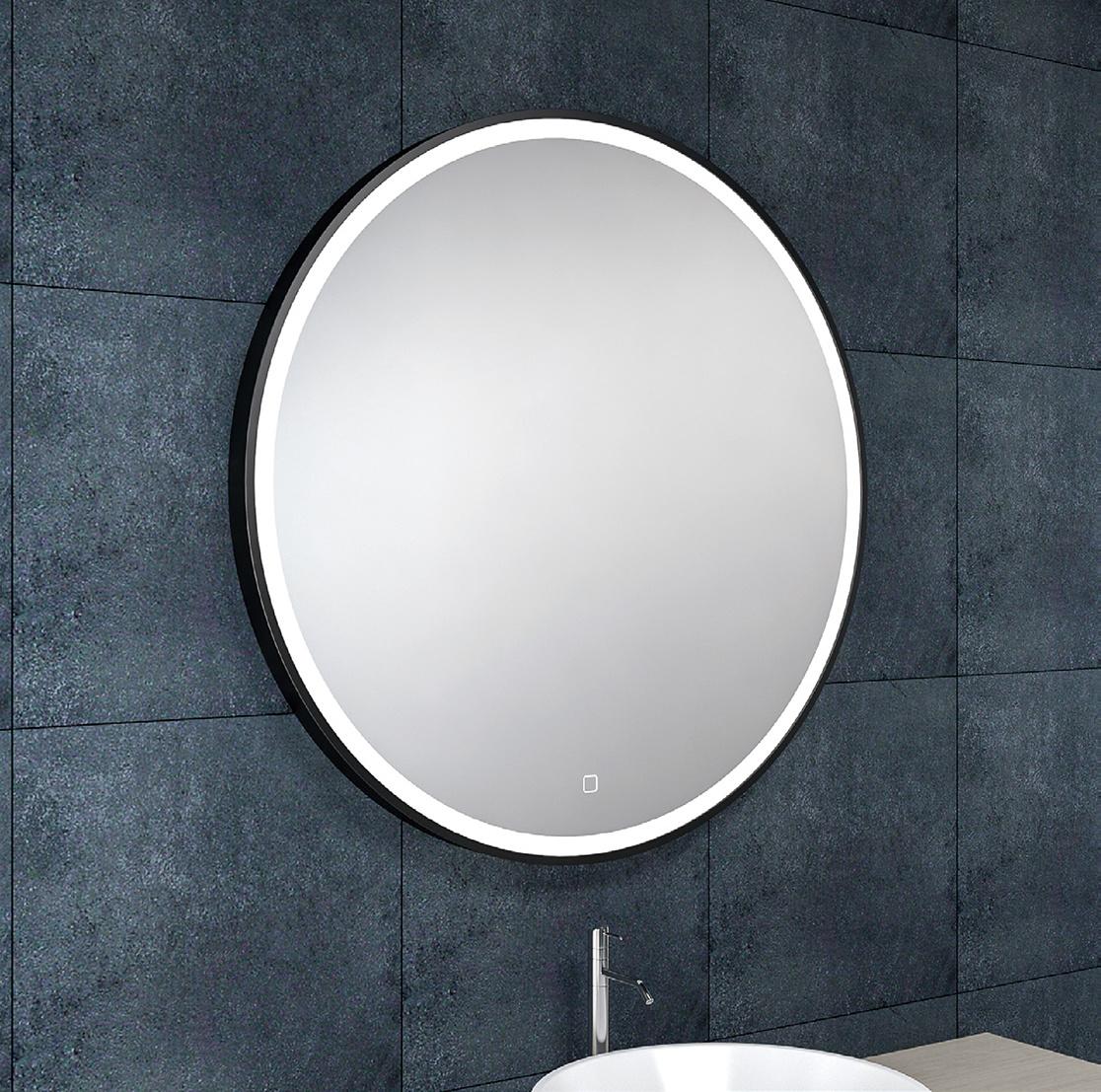 Wiesbaden Maro spiegel 80 cm rond + Led mat zwart