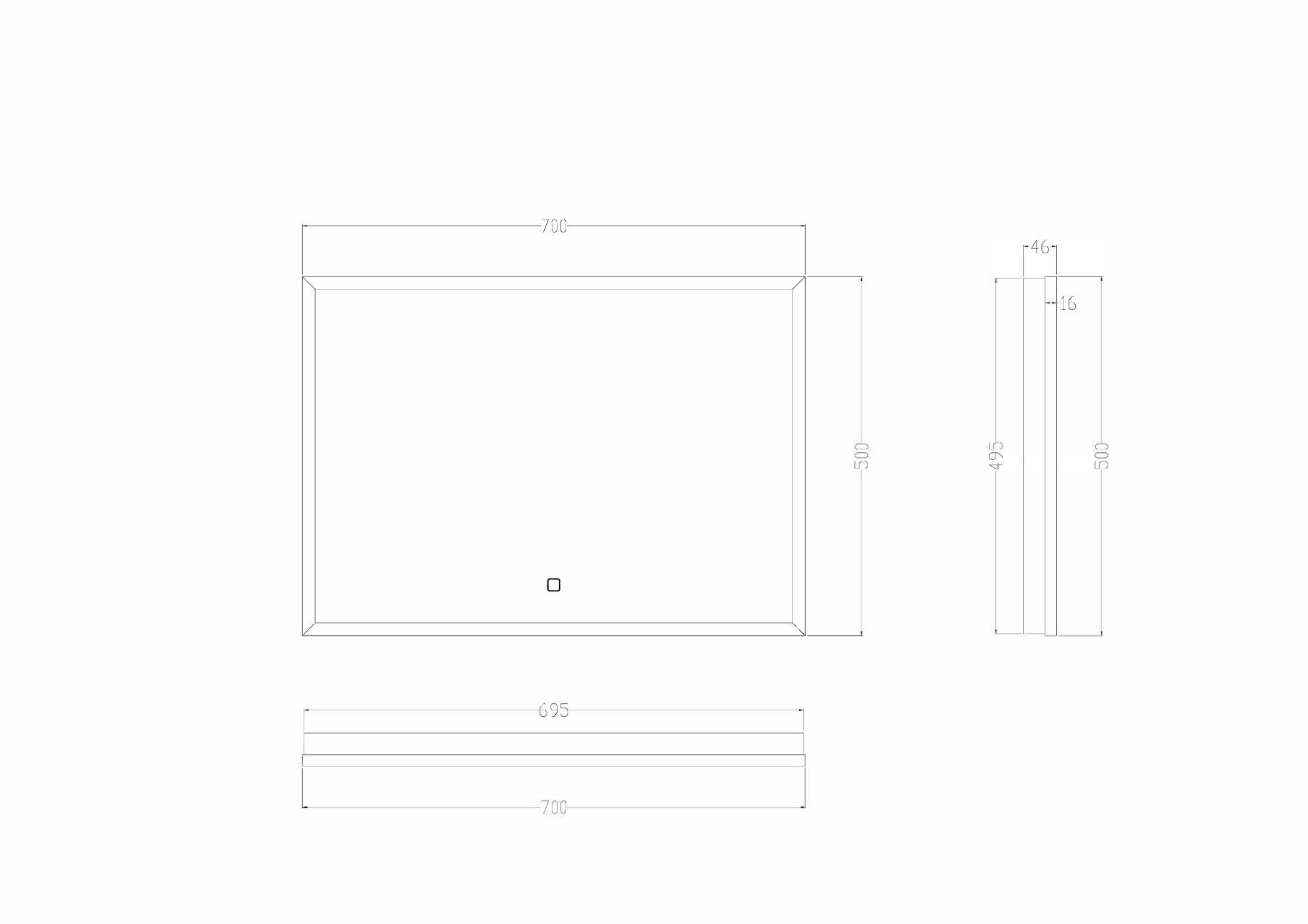 Wiesbaden Rechthoekige condensvrije LED-spiegel 700x500 mat zwart