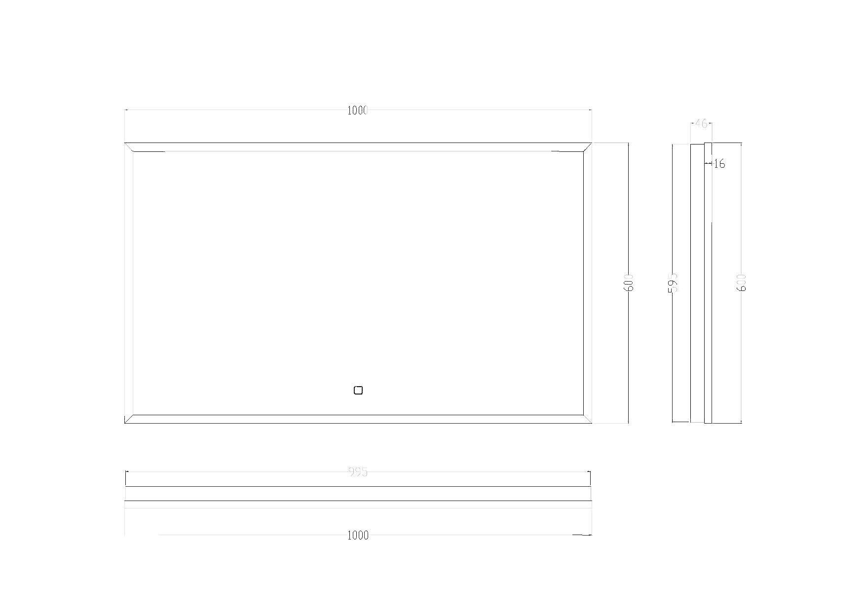 Wiesbaden Rechthoekige condensvrije LED-spiegel 100 x 60 mat zwart