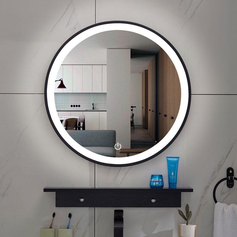 Wiesbaden Lista Nera spiegel rond met LED verlichting, dimbaar 60 cm mat zwart