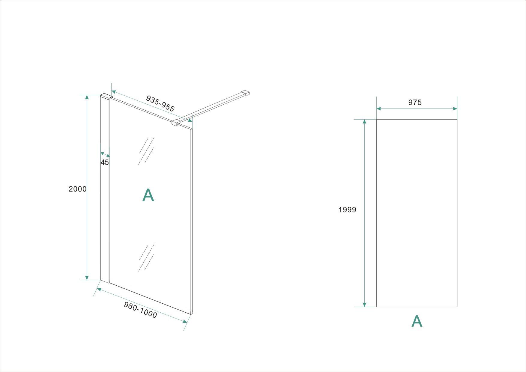 Wiesbaden inloopdouche + RVS profiel 1000x2000 10mm NANO glas