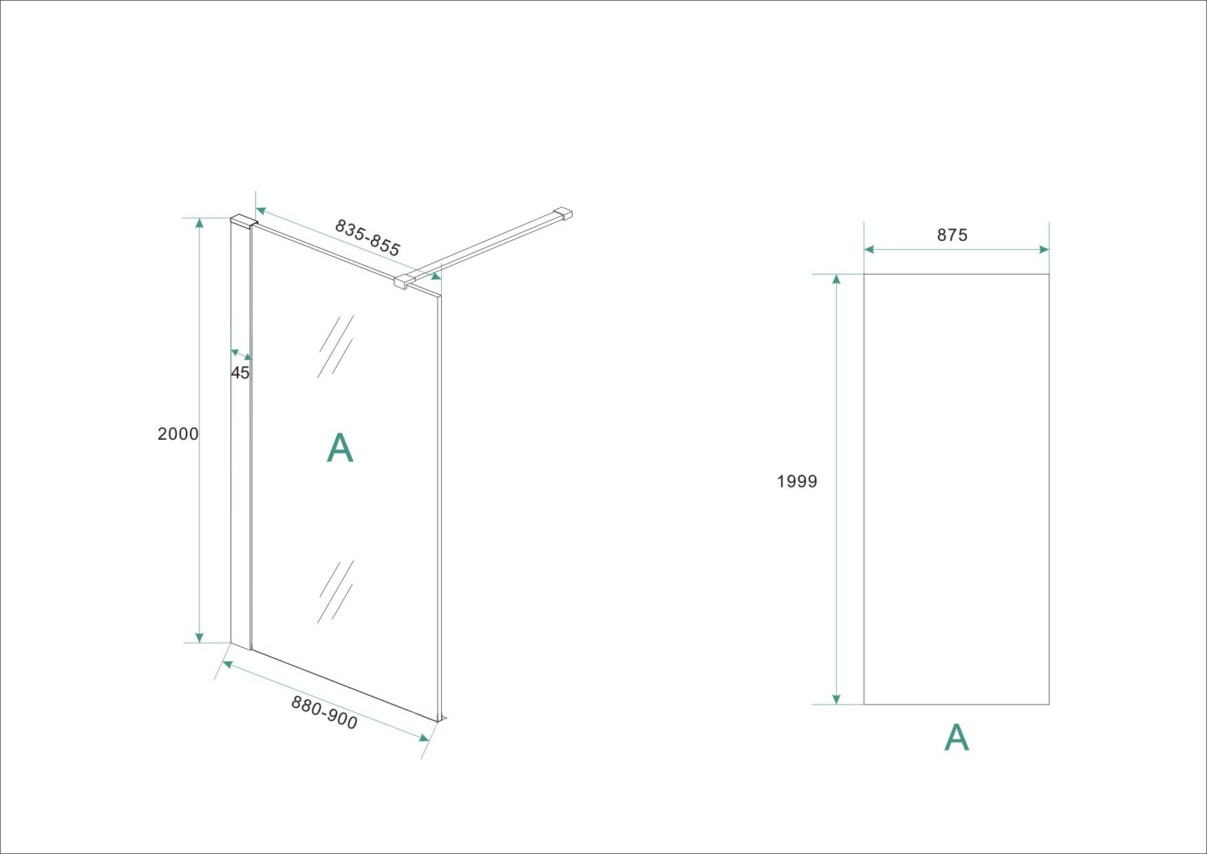 Wiesbaden inloopdouche + RVS profiel 900x2000 10mm NANO glas