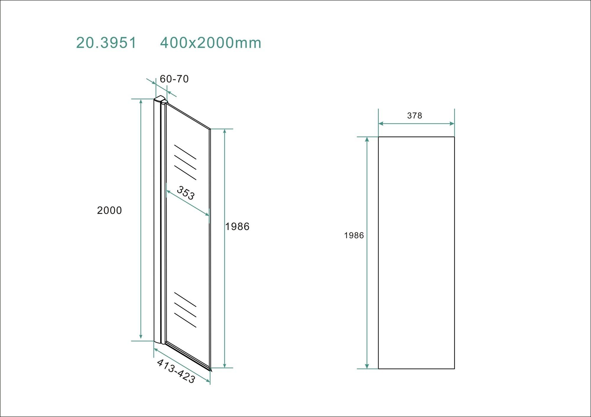 Wiesbaden scharnierende zijwand 40cm + muurprofiel Nano 10mm