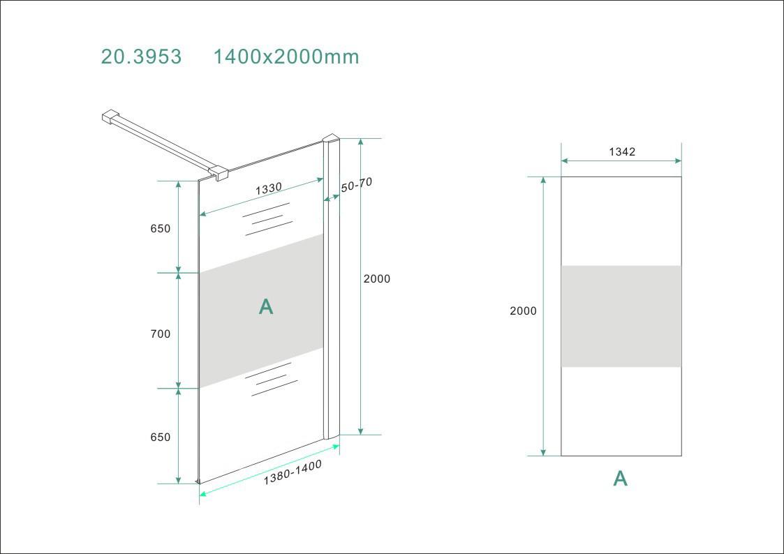 Wiesbaden inloopdouche + muurprof.1400x2000 8mm NANO ged.matglas