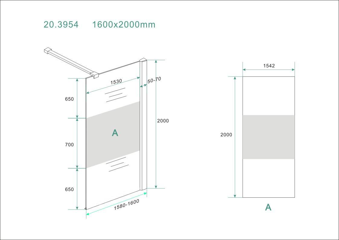 Wiesbaden inloopdouche + muurprof.1600x2000 8mm NANO ged.matglas