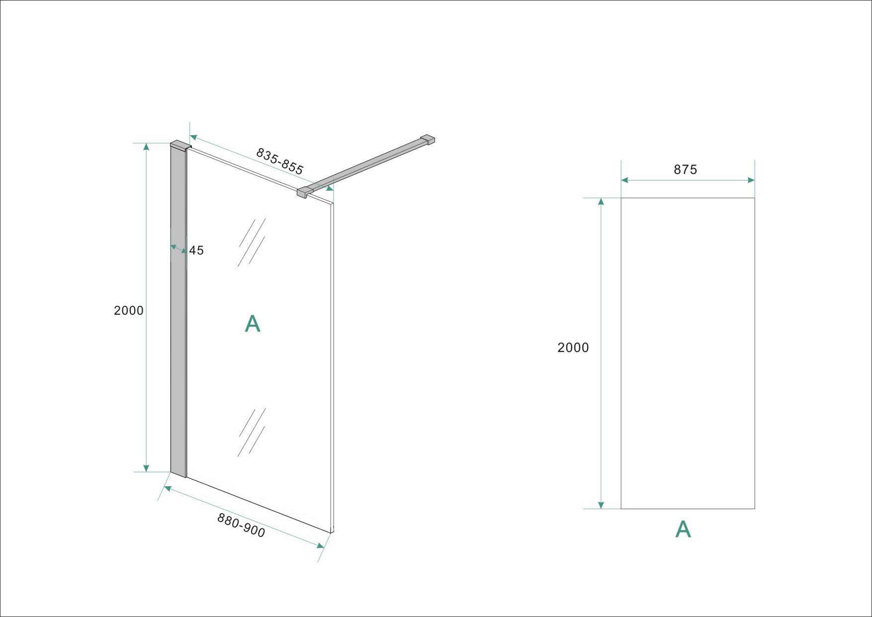 Wiesbaden Wiesbaden inloopdouche safety glass nano 90x200x1 cm helder/mat zwart