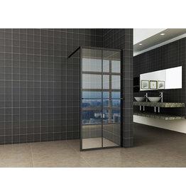 Wiesbaden inl.douche zwart raster+handdoekhouder 900x2000 10mm NANO glas