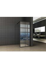 Wiesbaden inl.douche zwart raster+handdoekhouder 1000x2000 10mm NANO glas