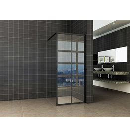 Wiesbaden inl.douche zwart raster+handdoekhouder 1200x2000 10mm NANO glas