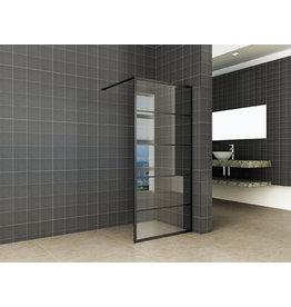 Wiesbaden Horizon inloopdouche mat zwart raster 90 cm 8 mm Nano