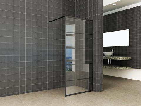Wiesbaden Horizon inloopdouche mat zwart raster 120 cm 8 mm Nano