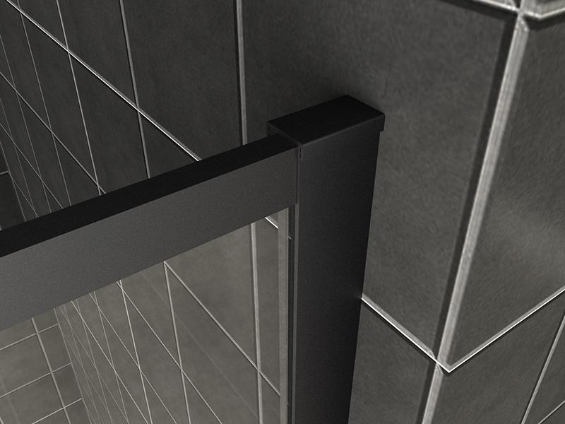 Wiesbaden Square inloopdouche 10mm NANO 900x2000 mat-zwart