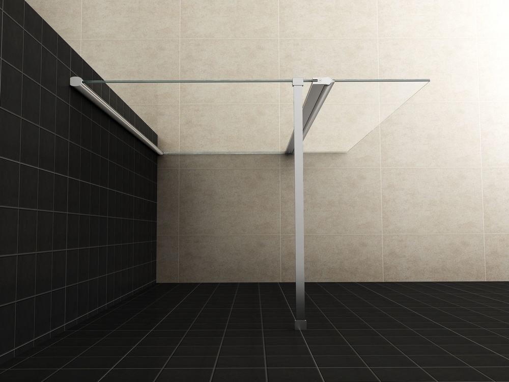 Wiesbaden Zijpaneel 30 x 200 cm met scharnierprofiel chroom met 10 mm NANO helder glas