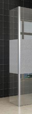 Wiesbaden Zijpaneel 35 x 200 cm met hoekprofiel voor inloopdouche chroom met 10 mm NANO ged.matglas