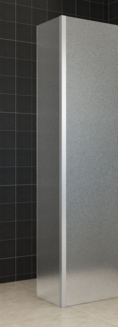 Wiesbaden Zijpaneel 35 x 200 cm met hoekprofiel voor inloopdouche chroom met 10 mm NANO geheel matglas