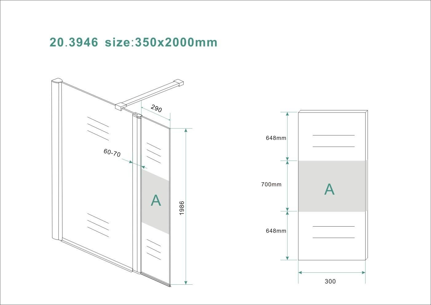 Wiesbaden Zijpaneel 35 x 200 cm met scharnierprofiel links chroom met 10 mm NANO ged.matglas