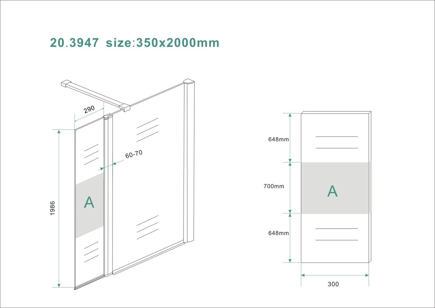 Wiesbaden Zijpaneel 35 x 200 cm met scharnierprofiel rechts chroom met 10 mm NANO ged.matglas