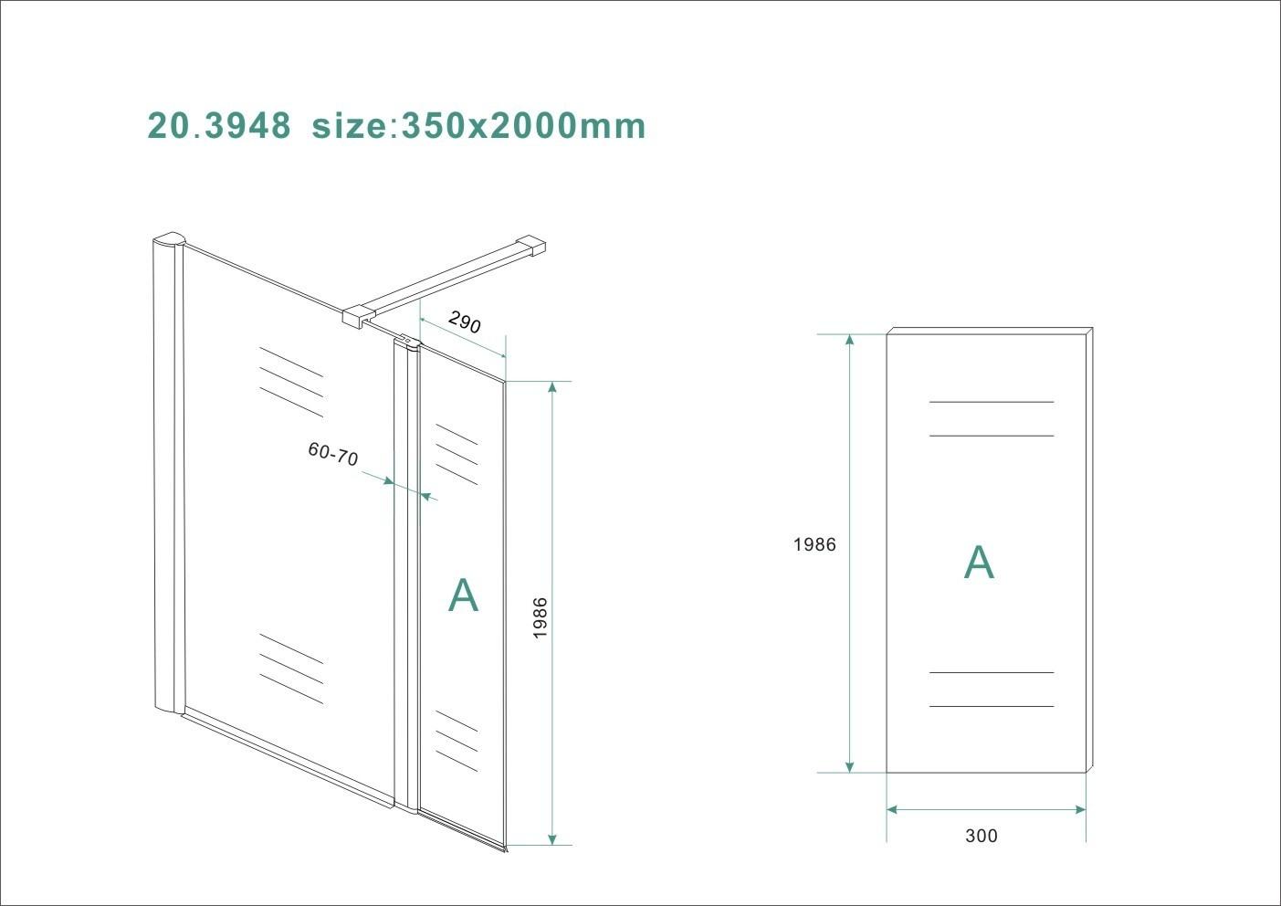 Wiesbaden Zijpaneel 35 x 200 cm met scharnierprofiel links chroom met 10 mm NANO geheel matglas