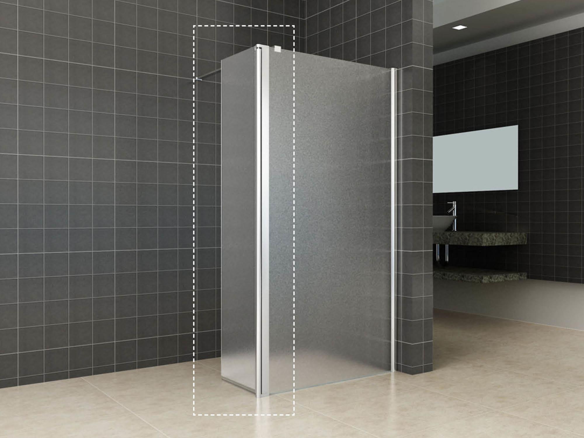Wiesbaden Zijpaneel 35 x 200 cm met scharnierprofiel rechts chroom met 10 mm NANO geheel matglas