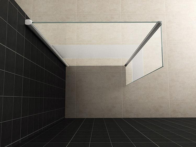Wiesbaden zijwand + hoekprofiel 400x2000 10mm NANO gedeeltelijk matglas