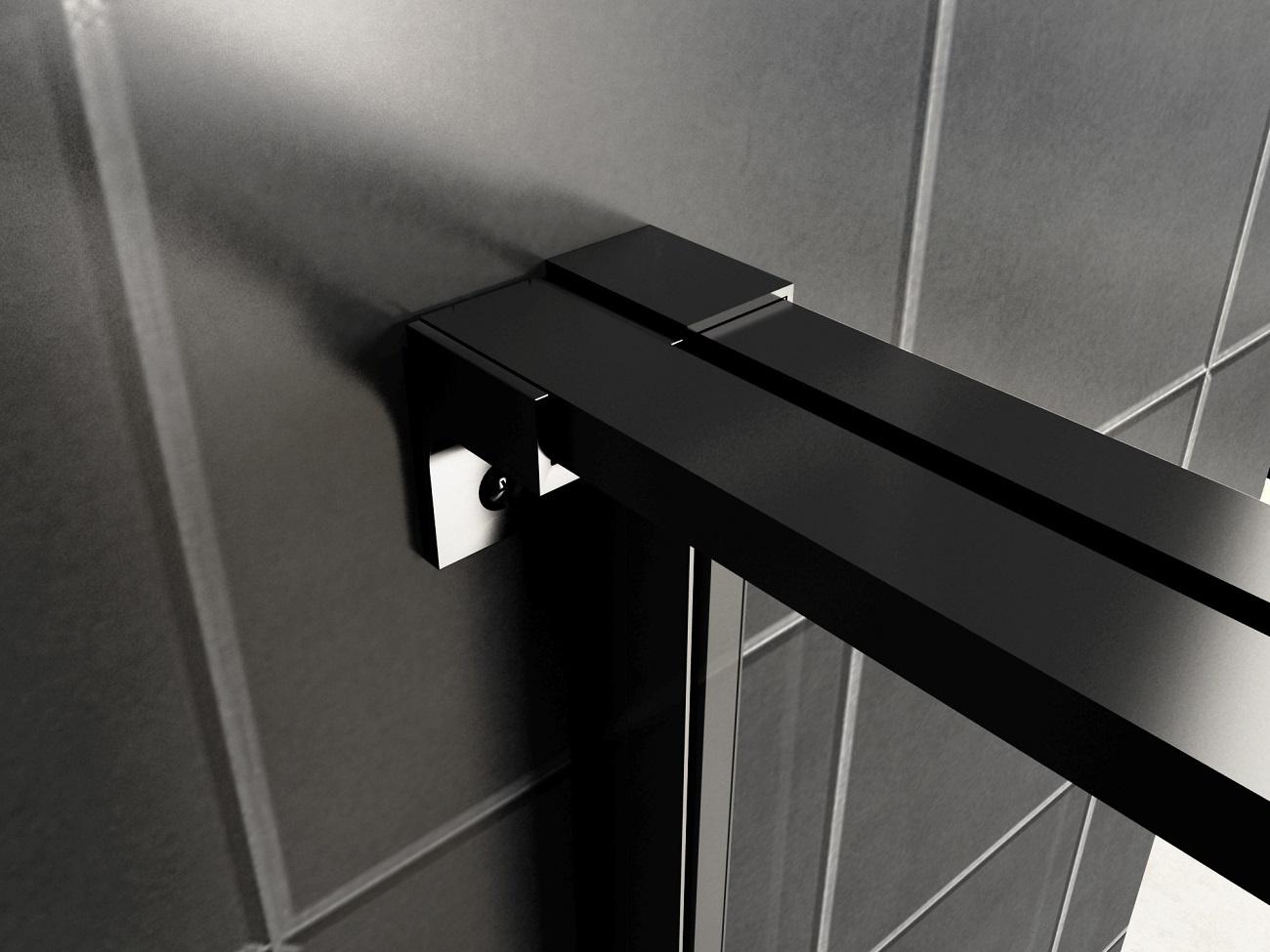 Wiesbaden Horizon nisdeur R/L met vast deel 120cm 8mm mat zwart NANO