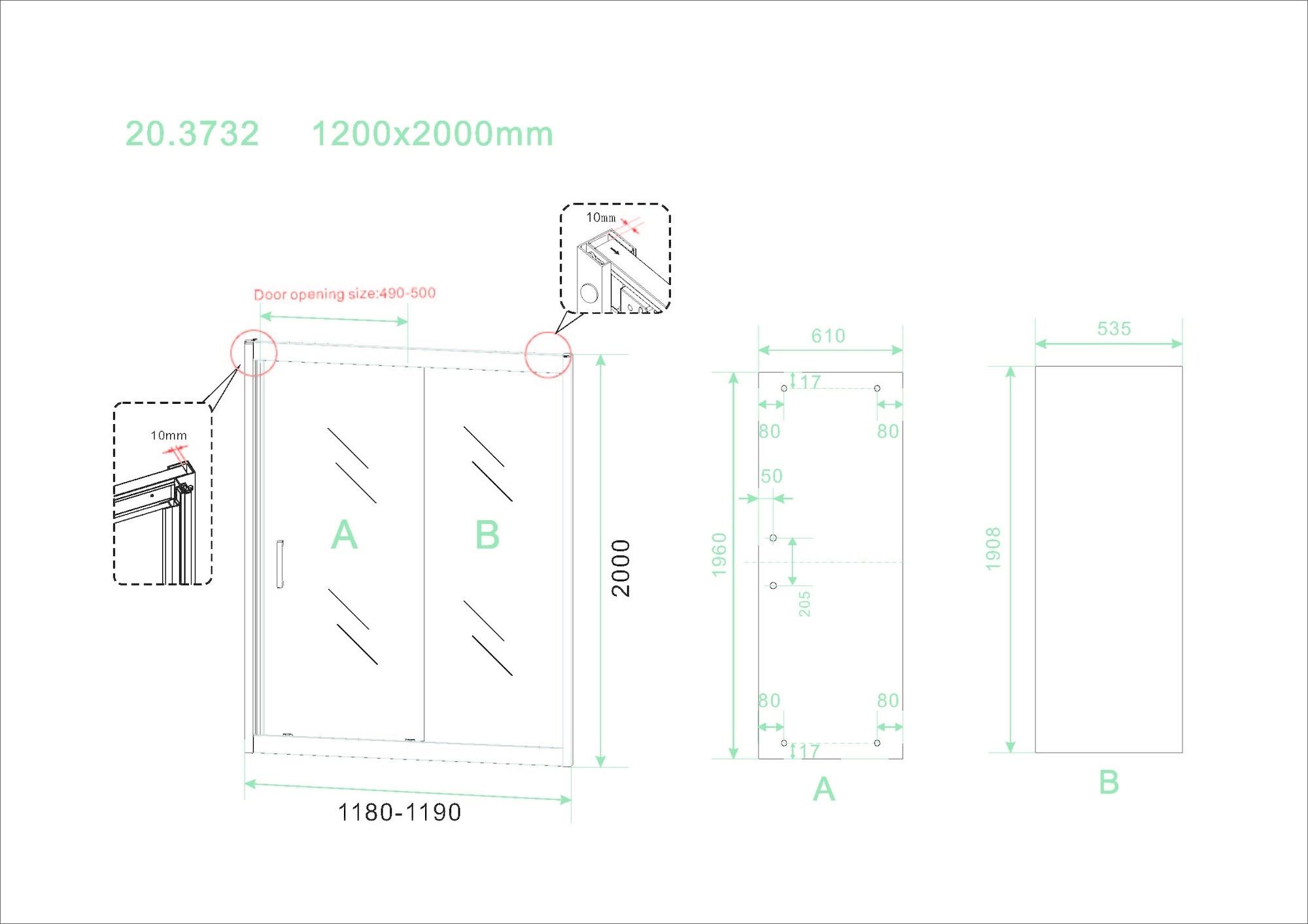 Wiesbaden Skyline schuifbare nisdeur 1200x2000 mat-zwart 8mm NANO