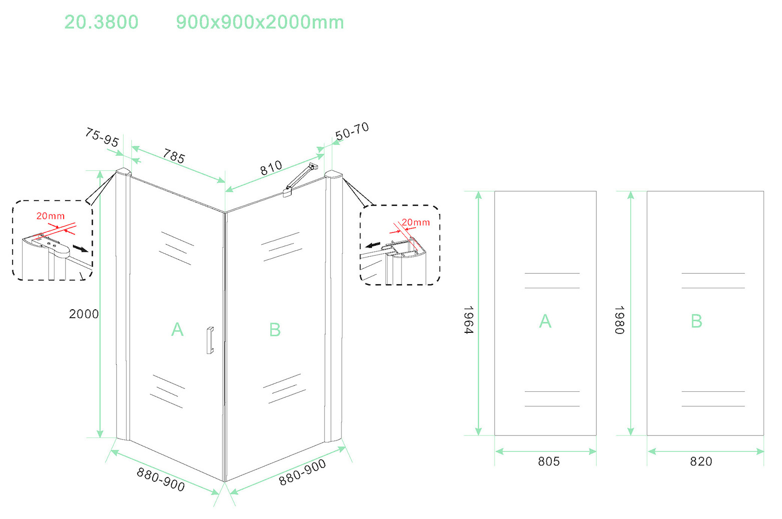 Wiesbaden Wiesbaden Uni douchecabine draaideur met zijwand 90x90 cm mat zwart met helder glas 8mm NANO