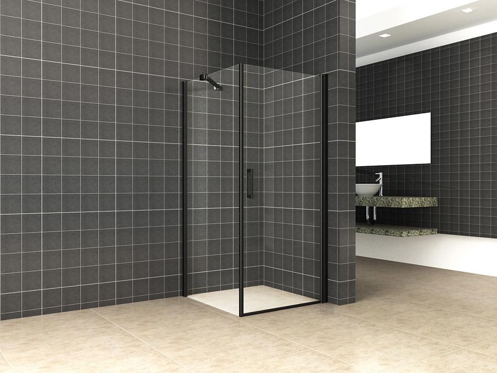 Wiesbaden Wiesbaden Uni douchecabine draaideur met zijwand 100x100 cm mat zwart met helder glas 8mm NANO