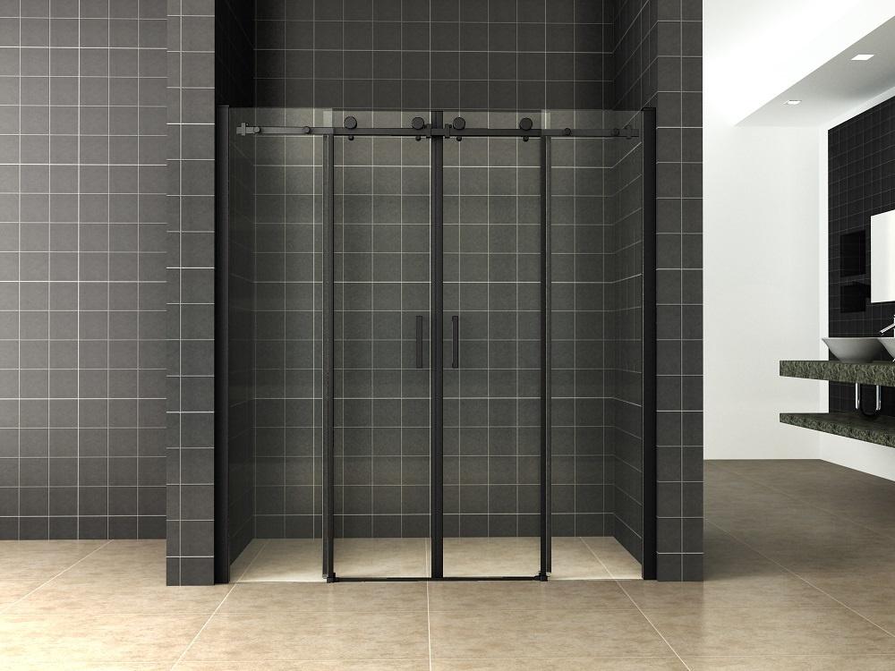 Wiesbaden schuifbare nisdeur 4-d. mat-zwart 1800x2000 chr.8mm NANO